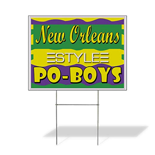 Plastic Weatherproof Yard Sign New Orleans Po-Boys Restaurant Cafe Bar Restaurants Yellow New for Sale Sign Multiple Quantities Available 18inx12in One Side Print One Sign
