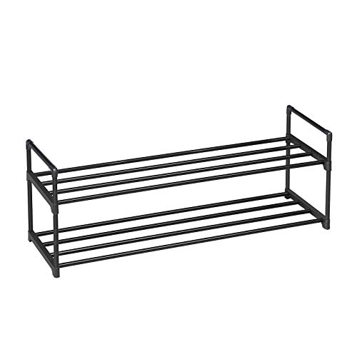 SONGMICS 2-Tier Shoe Rack, Metal Shoe Shelf, Storage Organizer Hold up to 10 Pairs Shoes, for Living Room, Entryway, Hallway and Cloakroom, 36.2
