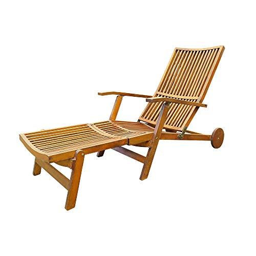 Interbuild Stockholm Deck Chair | Outdoor Patio Adjustable (7-position) Chaise Lounge chair | Folding sleeping chair ,Golden Teak -