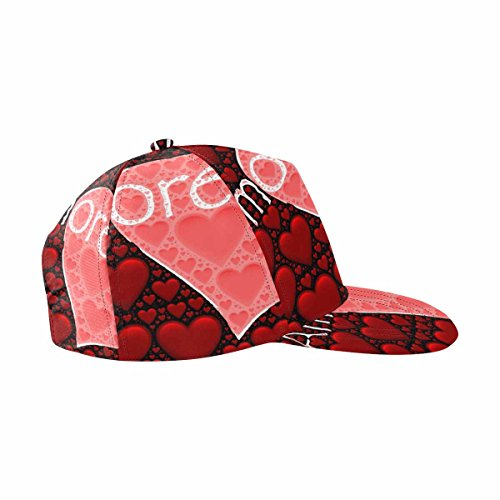 InterestPrint Amore Words with Red Hearts Image Adjustable Snapback Hat