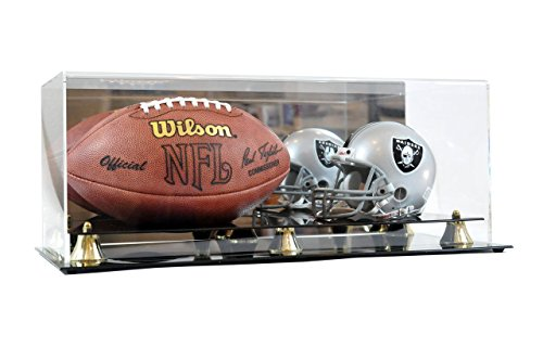 Deluxe Mini NFL Helmet and Full Size Football Acrylic Display Case with Mirror (Case Double Case Football)