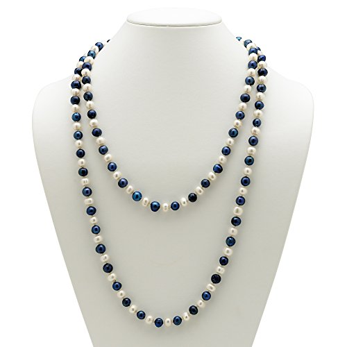 Navy Blue Freshwater Pearl - Palm Beach Jewelry Round Genuine Navy Blue and White Cultured Freshwater Pearl Endless Necklace 48