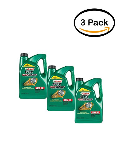 PACK OF 3 - Castrol GTX High Mileage 20W-50 Synthetic Blend Motor Oil, 5 QT