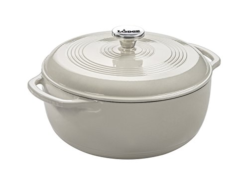 Lodge EC6D13 Enameled Cast Iron Dutch Oven, 6-Quart, Oyster White