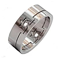 8mm Star Of David Shaped 2 Part Insert Puzzle Ring Surgical Steel 316L Stainless Steel