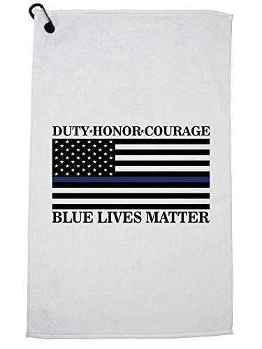 Hollywood Thread Duty Honor Courage Blue Lives Matter - Police Support Golf Towel with Carabiner Clip