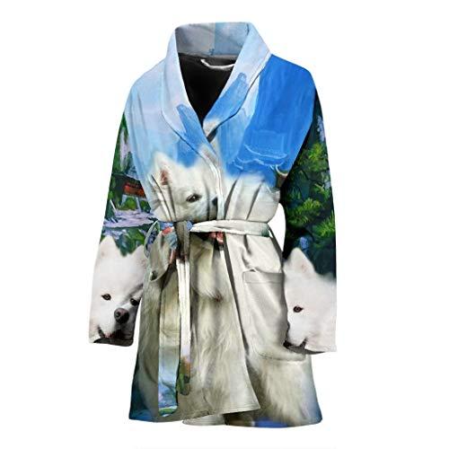 JJR Daily American Eskimo Print Women's Bath Robe]()