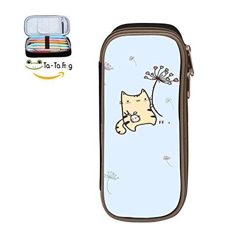 - Custom Flying Dandelion Kitty Pencil Case - Big Capacity Double Zipper Multifunctional Black Stationery Bag For Children