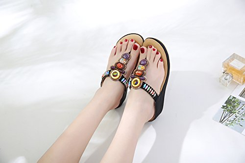 Nere Summer Infradito Da Ruiren Bohemian Beach Women Scarpe Donna Beeded Sandals Wedge AnAWPaqZw