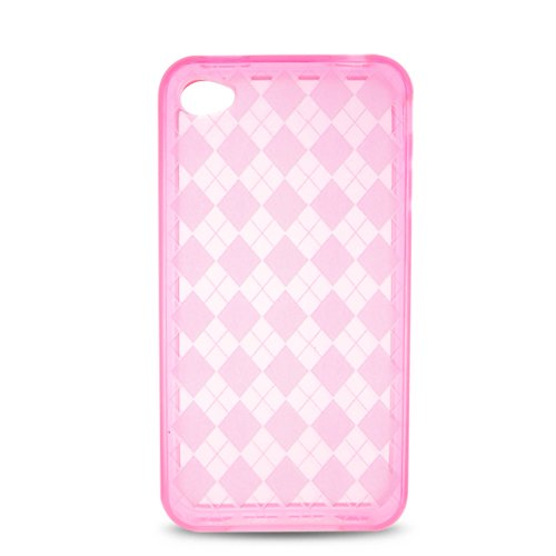 (Soft Skin Case Fits Apple iPhone 4 4S Transparent Checker Pink TPU Skin AT&T (does NOT fit Apple iPhone or iPhone 3G/3GS or iPhone 5/5S/5C))