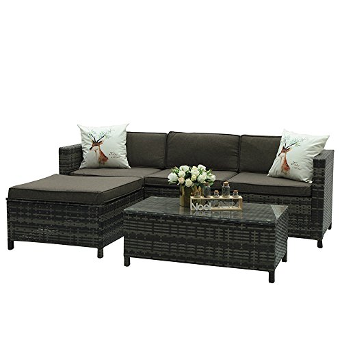 Outdoor Patio Furniture set, 5 Piece PE Wicker Rattan Sectional Furniture Set,Grey Wicker Grey (Garden Place Polyester Ottoman)