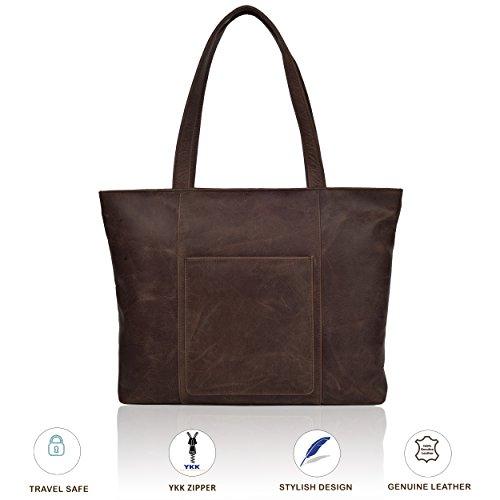 Large Leather Tote Bag for Women - Womens Shoulder Totes Handbag Travel Purse for Office College Work by Estalon (Brown Crazy Horse) by Estalon