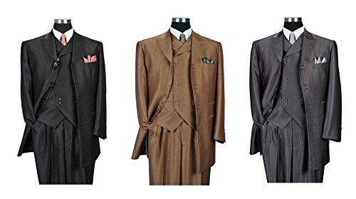 Milano Moda Herring Bone Stripe Fashion Suit with Vest & Pants 5264 Grey-46L by Milano Moda (Image #2)