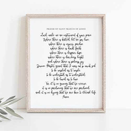 Les Connie Prayer of Saint Francis of Assisi Lord Make Me an Instrument of Your Peace Prayer Christian Home Art Scripture Wall Decor