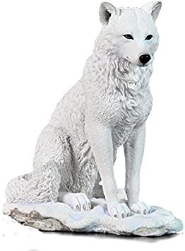 (7.75 Inch Wolf Sitting in Snow Decorative Statue Figurine, White)