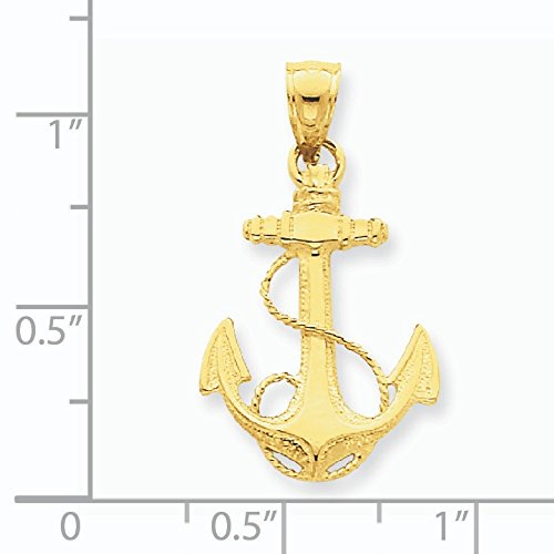 Poli Massif 14 Carats Pendentif Ancre-Dimensions :  27 x 16 mm-JewelryWeb