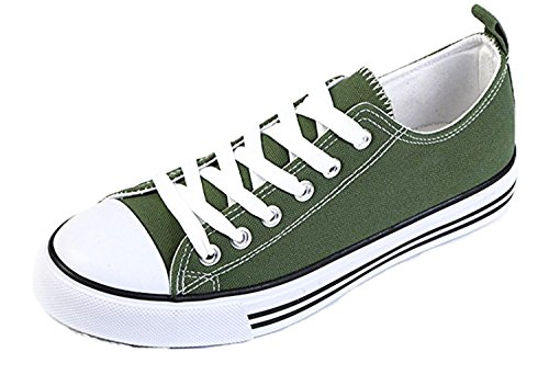 10XSHOES Women's Low Top Classic Canvas Fashion Sneaker Basketball Tennis Athletic Shoes (9, Olive)