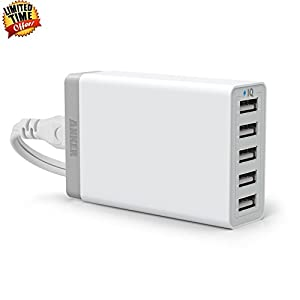 Anker 40W 5-Port Family-Sized Desktop USB Charger with PowerIQ Technology for iPhone 5s 5c 5; iPad Air mini; Galaxy Note; HTC One (M8); Nexus and More (White) by Hotfuleco