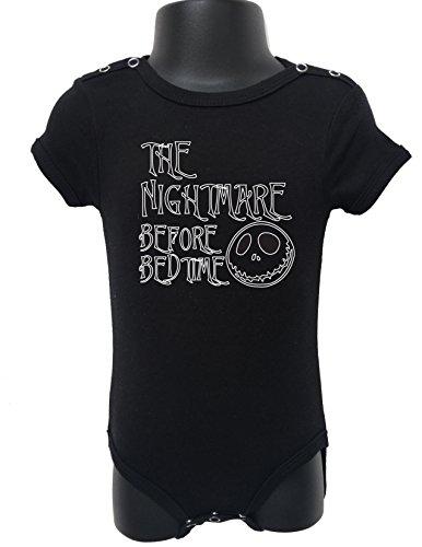 91 BABY ROMPER SHORT SLEEVE ONESIE UNISEX NIGHTMARE BEFORE BED GIFT BAGGED A&G (0-6 Months, Black)