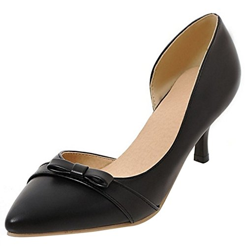 COOLCEPT Women Sweet Mid Heel Court Shoes Slip On Pumps Shoes With Bow Black H3m1SPy