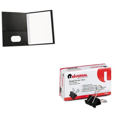 KITUNV10200UNV57114 - Value Kit - Universal Two-Pocket Portfolios w/Tang Fasteners (UNV57114) and Universal Small Binder Clips (UNV10200) by Universal (Image #1)