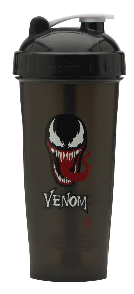 Performa Marvel Shaker - Original Series, Leak Free Protein Shaker Bottle with Actionrod Mixing Technology for All Your Protein Needs! Shatter Resistant & Dishwasher Safe (Venom)(28oz) by PerfectShaker