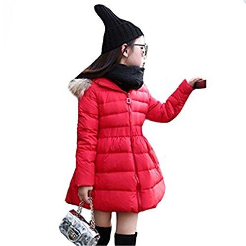 Meridiaga ragazze giacca invernale lunga piuma d oca spessore cotone imbottito con cappuccio giacca invernale