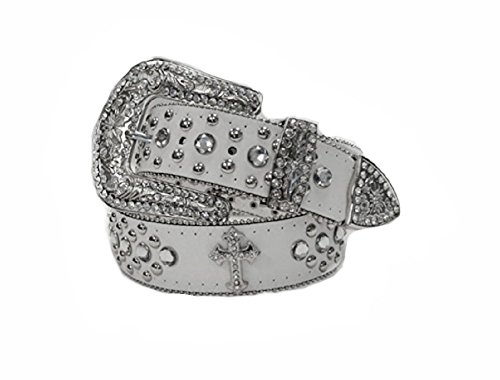 - Deal Fashionista WHITE CROSS Concho Western Rhinestone Removable Buckle Belt