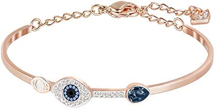 SWAROVSKI Women's Symbolic Evil Eye Bangle Bracelet, Blue Crystal, Mixed Metal Finish, Medium