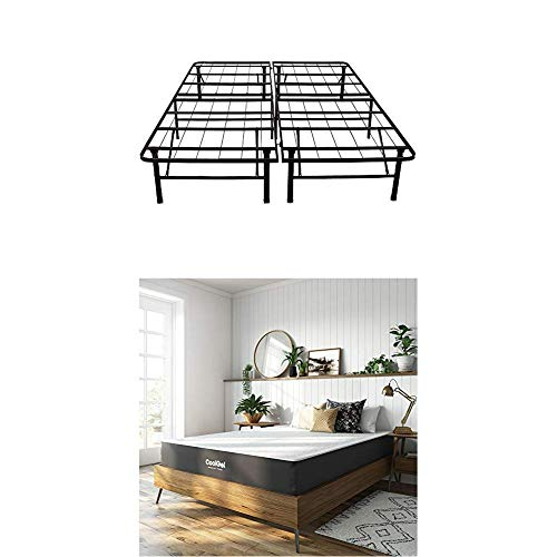 Classic Brands Cool Gel Ventilated Gel Memory Foam 10.5-Inch Mattress with Hercules 14-Inch Heavy-Duty Metal Platform Bed Frame, Full