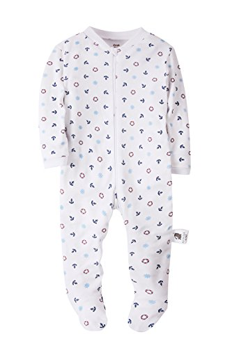 Baby Boys Footed Pajama - 100% Cotton Zip Front Anchor Sleeper 18M - by Marquebaby