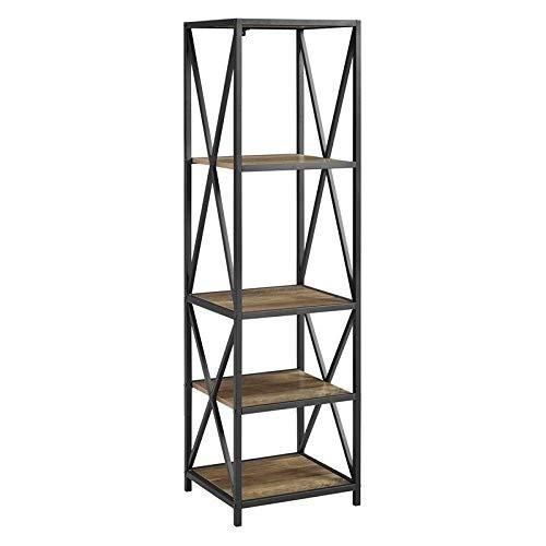 WE Furniture AZST18XMWRO Mixed Material Bookshelf, Rustic Oak (Bookshelf Solid Oak)