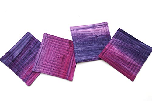 (Batik Tropical Quilted Coasters Set in Shades of Purple and Pink)