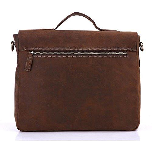 Nueva llegada JMD Crazy Horse piel hombres de bolso bandolera maletines portátil bolsa bolso Cruz Cuerpo bolsas marrón