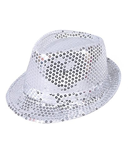 Buckletown Sequined Fedora Hat (Silver) -