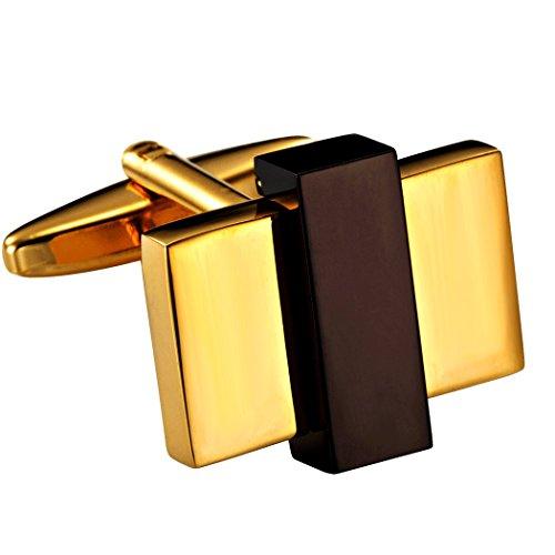 Urban Jewelry Unique Gold Toned Stainless Steel Rectangular Mens Fashion CuffLinks (Cufflinks Rectangular Steel)