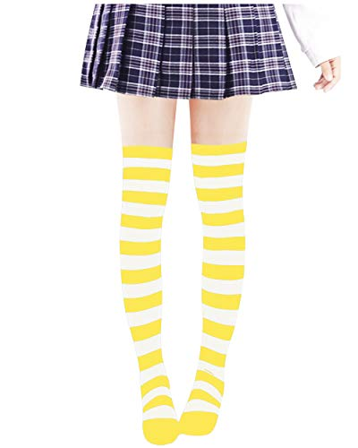 Anime Multicolor Preppy Over Knee Mizore Shimakaze Stripe Stockings (Yellow+White)