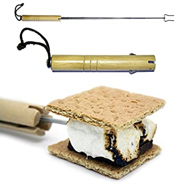 Marshmallow Roasting Sticks - Telescoping Roasting Forks - Must Have Camping Gear for the Family - Smores Campfire Roasting Stick - Stainless Steel Fork Extendable to 28  - Barbecue Hot Dogs - Protect Kids From the Fire with an Extending Utensil - 2 Prong Fork Fully Collapses Into a High Quality Wood Handle - Velcro Belt Loop Pouch for Storage (1 Stick Pack)