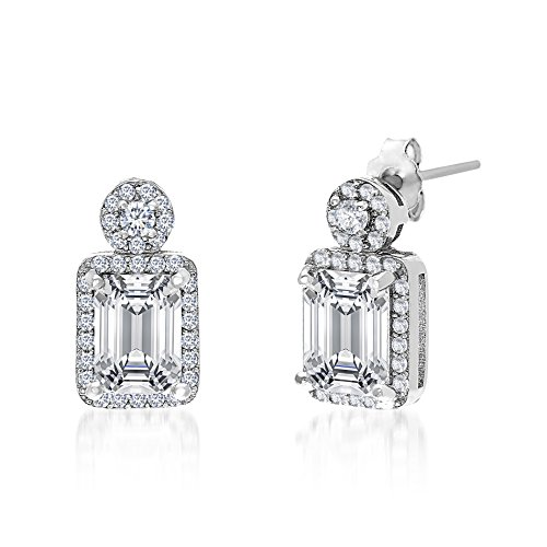 MIA SARINE Cubic Zirconia Baguette in Halo Dangling Earrings for Women in Rhodium Plated Brass
