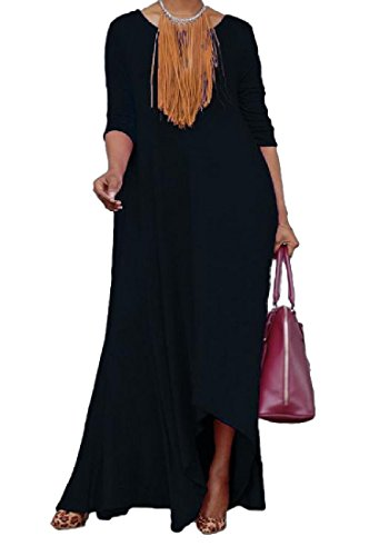 Evening Fit Solid Dress Comfy Black Long Swing Loose Party Fashion Women's qtAqxTw0R