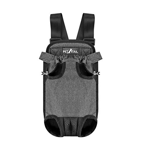 Legs Carrier Out Front (Pettail Dog Kangaroo Pouch Front Pet Backpack Carrier, Wide Straps Shoulder Pads, Adjustable Legs Out Pet Backpack Carrier Walking, Travel, Hiking, Camping (Small, Black))