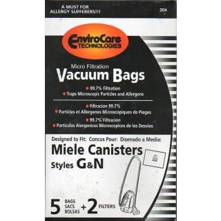 Replacement Miele GN Bags for S5 Galaxy Series and S600 series canister vacuums - 5 Bags + 2 Filters - by Envirocare Technologies (Intensive Filter Bags Clean)