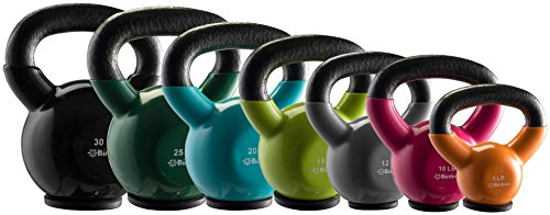 bintiva Kettlebells Professional Grade, Vinyl Coated, Solid Cast Iron Weights With a Special Protective Bottom