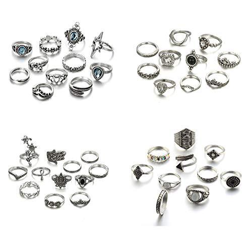 Gudukt 43PCS Vintage Knuckle Rings Set Bohemian Stacking Rings for Women Fashion Midi Finger Ring