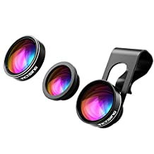 VicTsing Fisheye Lens, 3 in 1 Upgarded 180° Fisheye & 120° Super Wide Angle Lens & 10X Macro Lens, Clip On Cell Phone Camera Lens Kits ( No Dark Corner No Distortion)