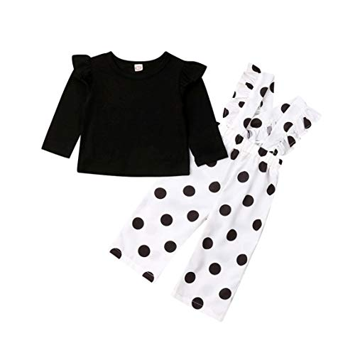 2Pcs Toddler Kid Baby Girl Ruffle Long Sleeve T-Shirt Tops Polka Dot Overalls Suspender Pants Set (18-24 Months, Black White Polka Dot) (Black And White Polka Dot Long Sleeve Shirt)