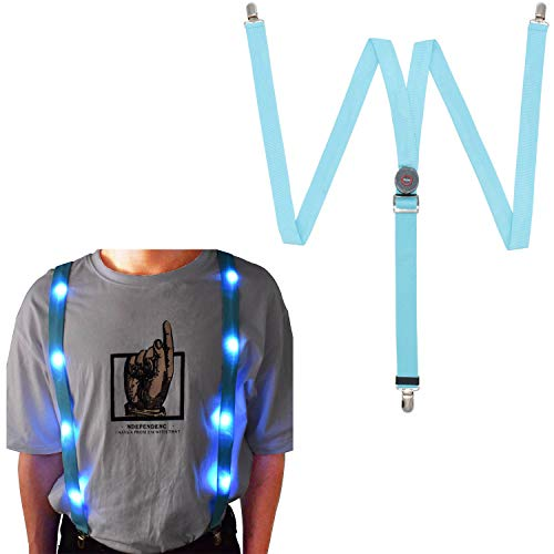 LED Glow Light Up Suspenders Trouser Braces Y Shape Suspenders (Blue) + -