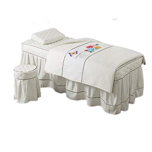 KIM DECO Massage Table Sheet Sets Bedspread In Solid Color,White 4 Pc Coverlets For Beauty Salon Spa Skirt Sheet+Blanket Cover+Pillowcase+Chair Cover-I 190x80cm(75x31inch) by KIM DECO