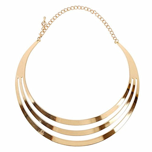 Hatop Necklace, Women Punk Hollow Simple Geometry Chain Collar Necklace Jewelry (Gold)
