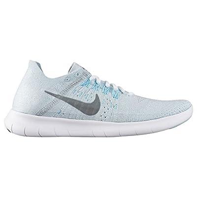 Nike Womens Free Run Flyknit 2017 880844 012 Pure Platinum/Metallic Silver Size 5